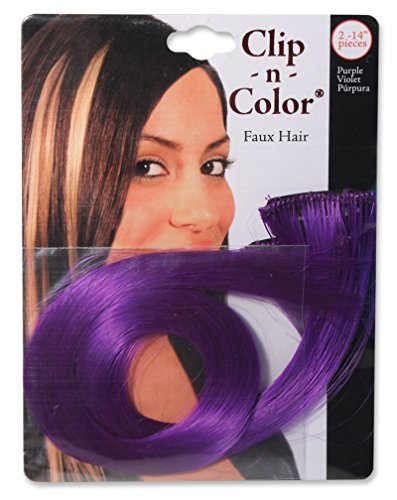 Mia Clip-n-Color-Synthetic/Faux Wig Hair Extensions On A Weft Clip-Instant Hair, Instant Length, Instant Volume! Two 14