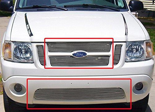 Ford Billet 01 Explorer Grille - ZMAUTOPARTS Upper + Bumper Billet Grille Grill Insert 3pcs Combo For 2001-2005 Ford Explorer Sport Trac
