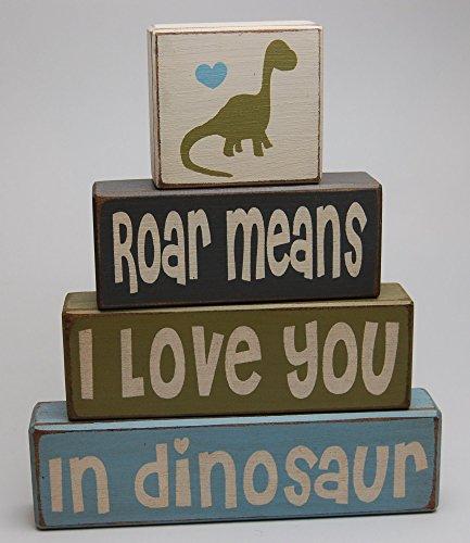 Roar Means I Love You In Dinosaur - Primitive Country Wood Stacking Sign Blocks Dinosaur Decor Children's Room-Dinosaur Birthday-Dinosaur Nursery Baby Shower (Blocks Nursery Decor)