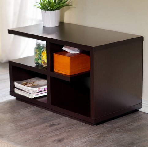 Furniture of America Euclidor Contemporary Modern Walnut Brown Living Room Sofa End Table Small Side Table