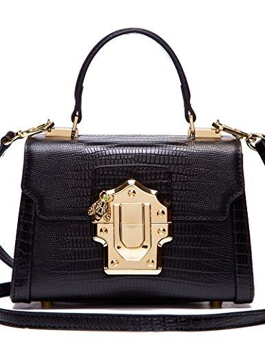 Lizard Embossed Wallet - LA'FESTIN Ladies Cross-body Bags Lizard Pattern Black Leather Shoulder Purse Mini