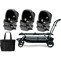 The fully equipped stroller for multiples. Threes not a crowd with these spacious individual car seats! Take the whole gang with you in our full size stroller that comfortably seats three