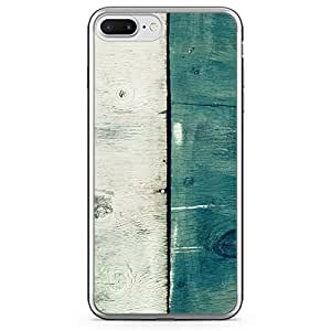 Loud Universe iPhone 7 Plus Transparent Edge Case - 2 Tone White Green Wood Print