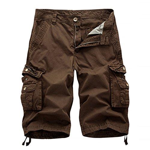 Brown Casual Shorts - LOCALMODE Men's Casual Cotton Multi Pocket Twill Cargo Shorts Coffee 36