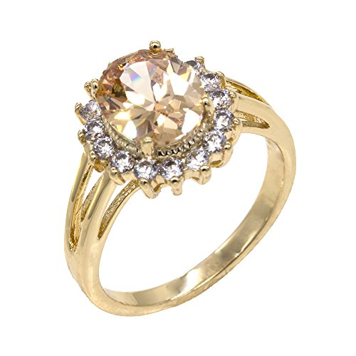 (Lavencious Oval Round Topaz Champagne CZ Rings Wedding Party Statement Engagement Inspired Cocktails Gold Plated For Woman Size 5-10 (Brown,)