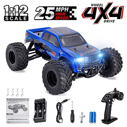 Distianert 1: 12 Scale 4WD RTR Rock Crawler Electric RC Car with 2.4Ghz Radio Remote Control High Speed 25Mph Best RC Buggy for On-Road & Off-Road Racing Rock Crawling, Blue