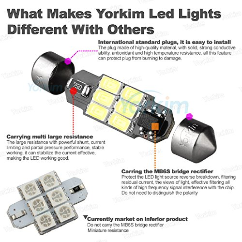Yorkim-4x31mm125-6-SMD-5730-DC-12V-Super-Bright-Festoon-White-LED-Bulb-Fit-for-3021-3022-3175-6428-6430-DE3175-DE3021-DE3023-etc