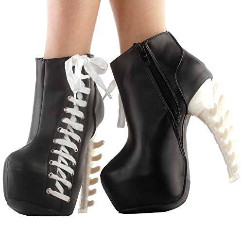 Ankle Two Story up Punk LF80666 Lace Boots top High Tone Platform Bone Black Zip Show TPqEwdxCT