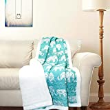 "Lush Decor Elephant Parade Sherpa Throw, 60 x 50"", Aqua"