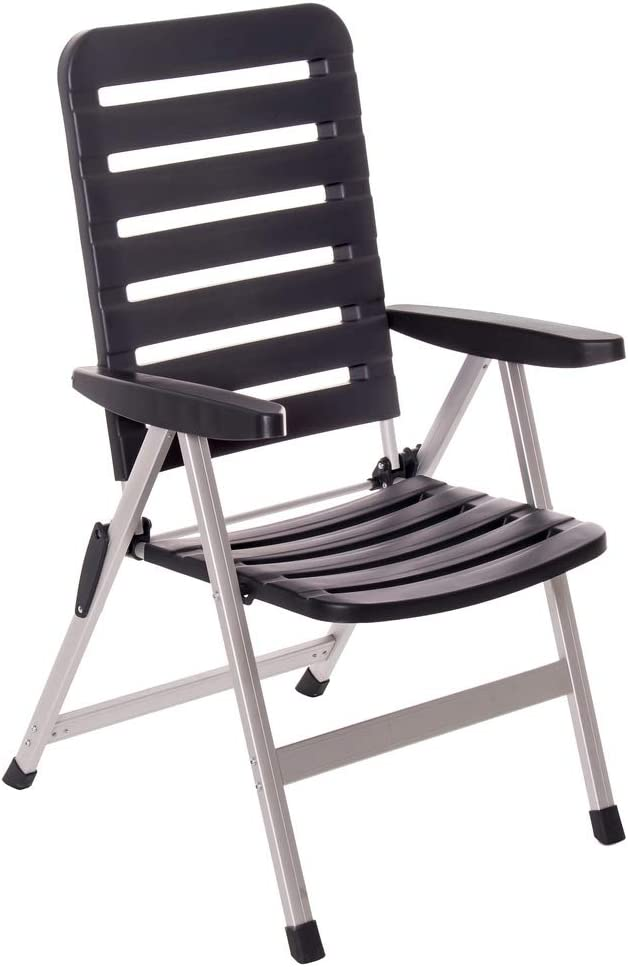Silla Plegable Negra de Aluminio con 3 Posiciones Moderna Garden - LOLAhome