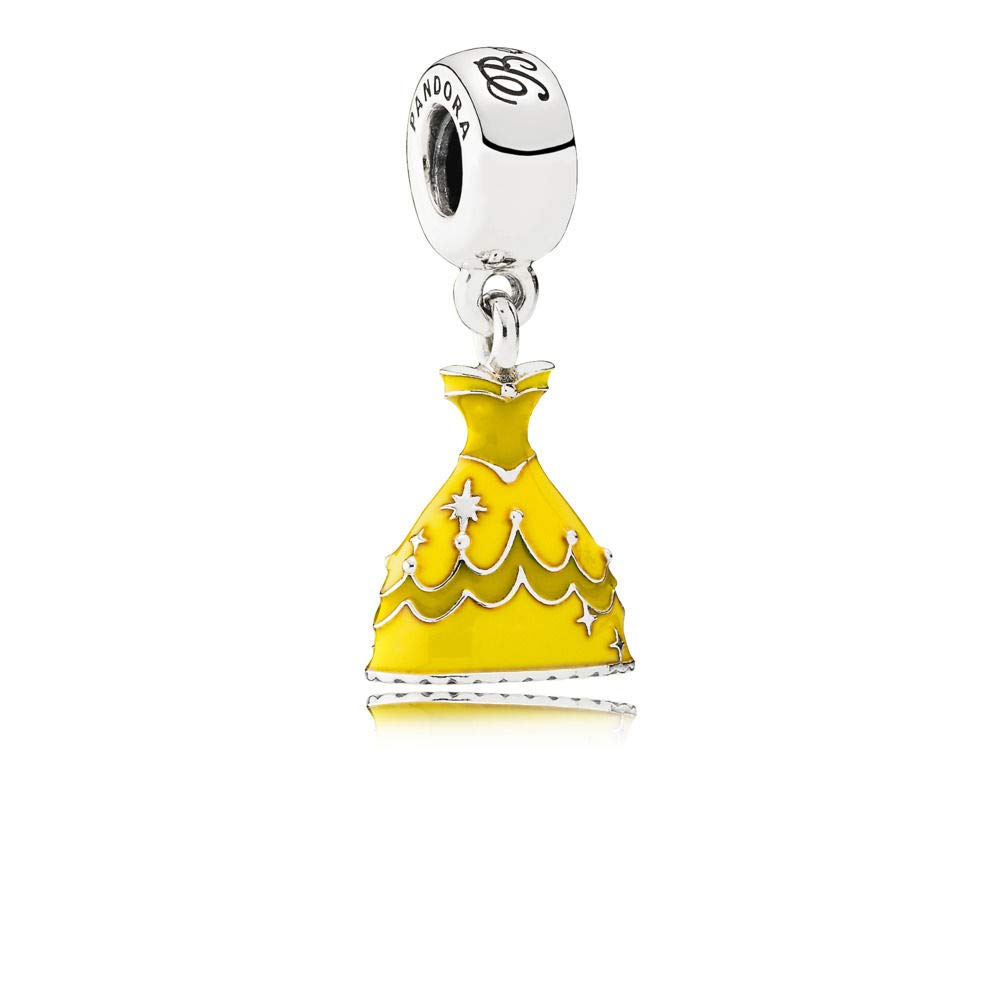 Pandora Disney Belle's Dress with Yellow Enamel Dangle Charm 791576enmx