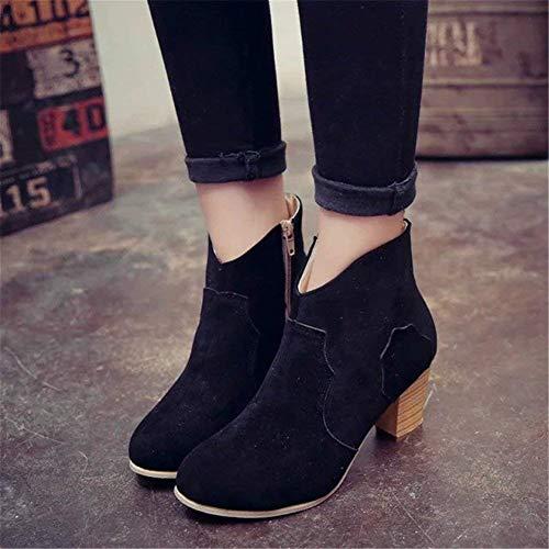 Sanding Boots Eu Short Casual Zipper Sed Side Retro E Size Ladies Pu 41 Scarpe Big wEHcSSIUqW