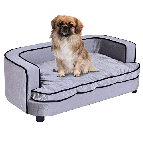 Giantex Pet Sofa Orthopedic Lounge Sofa Bed Puppy Cat Sleeping Home Comfortable Couch Pet Bed with Removable Cushion for Large Dogs, Gray