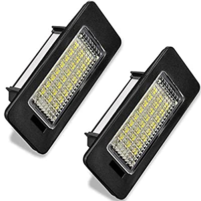 LED Car License Plate Light Assembly 12V 18 Led lamp bulb for Audi A3 A4 A6 A8 S6 Q7 RS4 RS6 Plus Error Free Direct Replacement White Rear Number Plate Lamp (2 PCS): Automotive