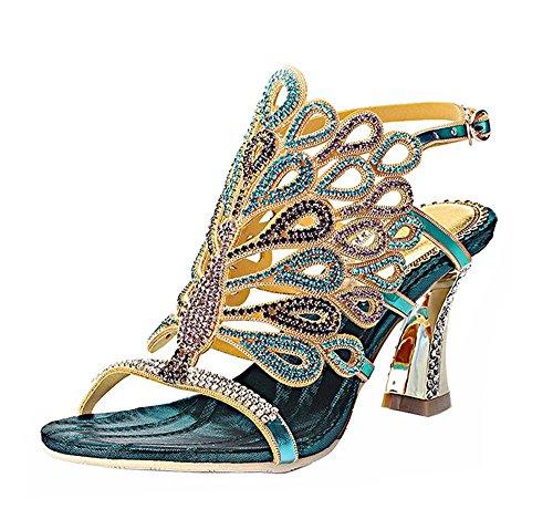 Dayiss Elegant Damen High Heels Sandalen mit Strass Pfau Pattern Handgemacht Party Club Abendschuhe Blau