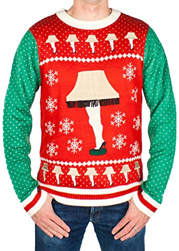 Fragile Costume Christmas Story (Men's Leg Lamp Major Award Sweater (Red/Green) - Ugly Holiday Sweater (Small))