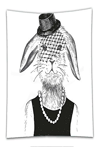 Nalahome Fleece Throw Blanket Modern Rabbit Girl with Pearls and Vintage Hat Hipster Comic Cute Retro Bunny Graphic Black White - Instant Black Bunny Costumes Set