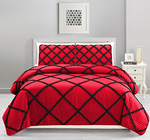 All American Collection New 4pc Diamond Pleated Ruffle Bedspread/Quilt Set with Bedskirt (Queen Size, Black/Red)