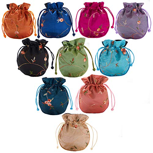 10PCS Silk Brocade Coin Bags Pouches with Drawstring, Jewelry Gift Bag Candy Sachet Pouch Small Floral Embroidered Organizers Pocket for Women Girls Dice Necklaces Earrings Bracelets, Assorted Colors