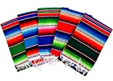 MEXIMART's® Authentic Medium Mexican Blankets Colorful Serape Blankets Assorted Colors 80'' x 48''