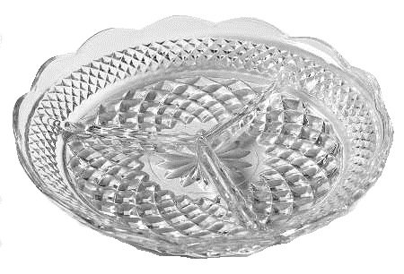 Anchor Hocking Wexford Clear Glass ( 3-Part Relish Dish ) (Three Part Relish Dish)