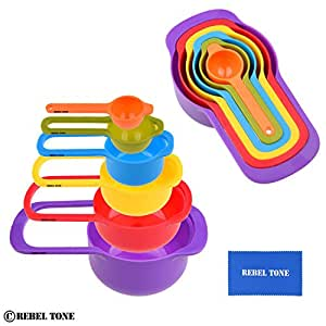 Measuring Cups and Spoons - Set of 6 - that can be Nested to Save Space - Easy to Clean, Dishwasher Safe - Durable2 cup,1 cup.)