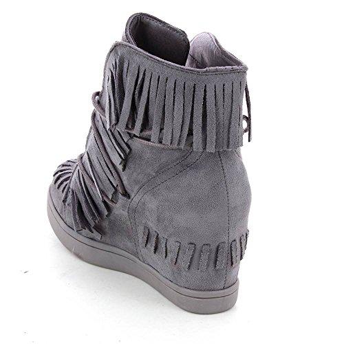 Daim Avec Go Tendance Style Compensées Gris Baskets Franges ICCOqw4x