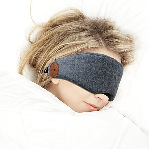 Bluetooth Sleeping Eye Mask Headphones Wireless Sleep Headset Handsfree Travel Sleeping Headphones Bluetooth V4.2 Blindfold Eye Cover Built-in Speakers Microphone VZ SPORT MATE(Gray)