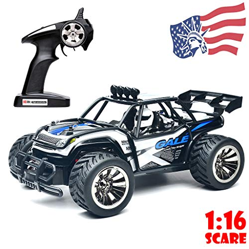 COLOR-LILIJ RC Cars 1:16 Scale 2WD Off Road Cars -50m Control Distance/Fast 15KM/H, 2.4GHz Radio Truck High Speed Challenger, Nylon Anti-Collision and Beat-Resistance, US Stock