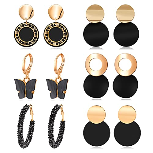 CHANBO 6 Pairs Statement Earrings for Women Black Cute Arcylic Geometric Dangle Drop Gold Earings 2021 Fashion Jewelry