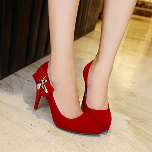 Charm Foot Womens Chic Pointed Toe High Heel Dress Pumps Shoes Red GTUvhn2