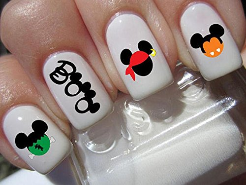 BOO halloween scary disney Mickey Mouse & Minnie Mouse costume heads nail art waterslide decals nail design set #h7 ()