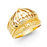 Solid 14k Yellow Gold Kings Crown Ring Hip Hop Style Band Polished Genuine Heavy Men 15MM Size 8