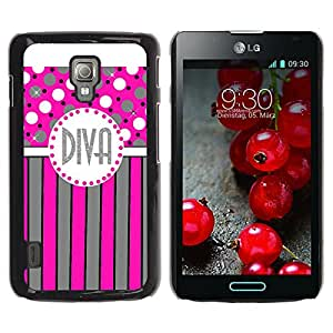 iKiki Tech / Estuche rígido - Polka Dot Pink Grey Stripes Lines - LG Optimus L7 II P710 / L7X P714
