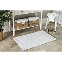 Safavieh Plush Master Bath Collection PMB621W Handmade White Cotton Bath Mat, 2 feet 3 inches by 3 feet 9 inches (23 x 39) (Set of 2)