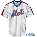 New York Mets Blank White Stripe Cooperstown Youth Cool Base Home Jersey