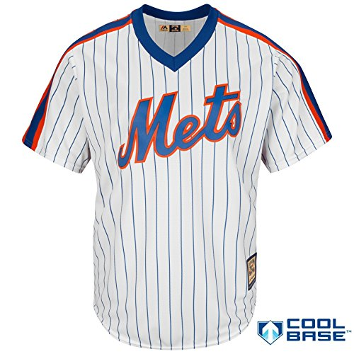 OuterStuff New York Mets Youth Cool Base Cooperstown Pullover Pinstripe Jersey White (Small 8)