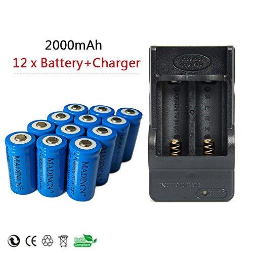 NADINCN 12 x 2000mah 3.7v Cr123a 16340 Protected High capacity Li-ion Rechargeable Battery + 2-Slots charger by NADINCN®