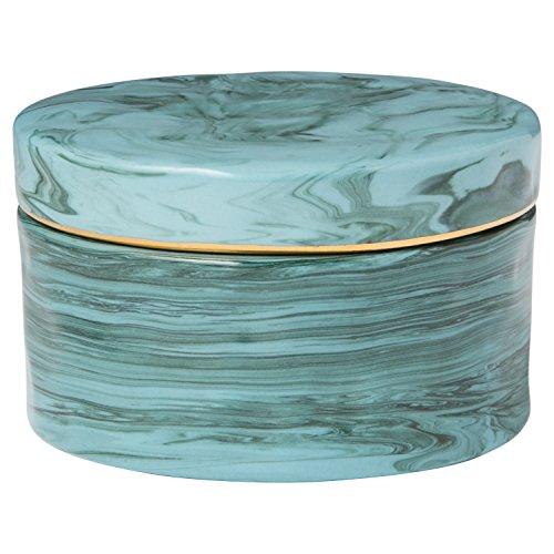 - Rivet Mid Century Modern Decorative Marble Jewelry Box - 4 x 2 Inch, Blue
