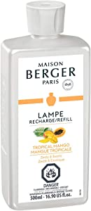 MAISON BERGER Tropical Mango Lampe Berger Refill for Home Fragrance Oil Diffuser, 16.9 Fluid Ounces-500 milliliters