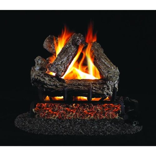 (Peterson Real Fyre 18-inch Rustic Oak Gas Log Set With Vented Propane G45 Burner - Manual Safety)