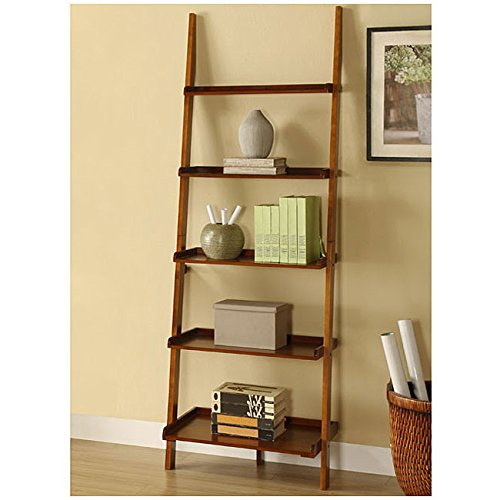 Mahogany Five-tier Leaning Ladder Shelf