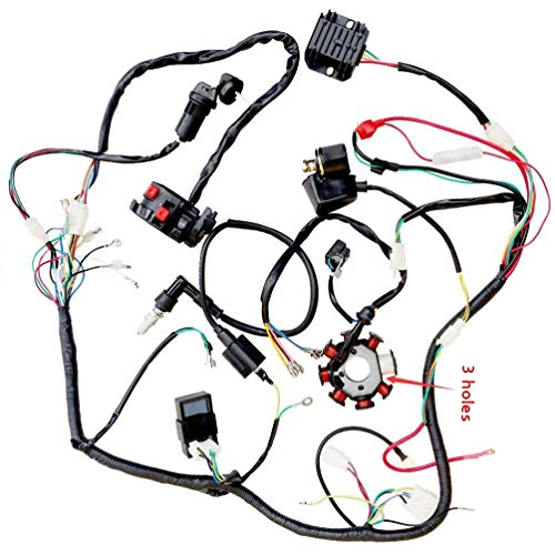 ZXTDR Complete Wiring Harness kit Wire loom Electrics Stator Coil CDI for 150cc-300cc ATV QUAD 4 Four wheelers Go Kart Dirt Pit bikes (3 fixing holes)
