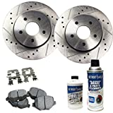 #5: Detroit Axle - Drilled & Slotted Front Disc Brake Rotors & Ceramic Pads w/Clips Hardware & BRAKE CLEANER & FLUID for 08-12 Accord 2.4L - [03-07 Accord Sedan 2.4] - 13-15 Civic EX - [03-11 Element]
