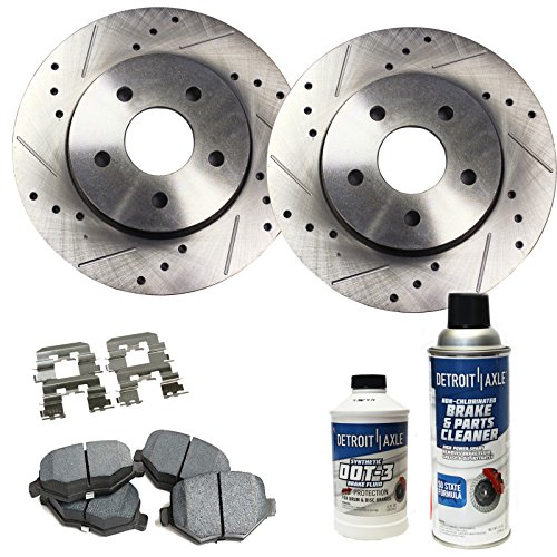 Detroit Axle - Drilled & Slotted Front Disc Brake Rotors & Ceramic Pads w/Clips Hardware & BRAKE CLEANER & FLUID for 08-12 Accord 2.4L - [03-07 Accord Sedan 2.4] - 13-15 Civic EX - [03-11 Element] (Element Ceramic Ex)