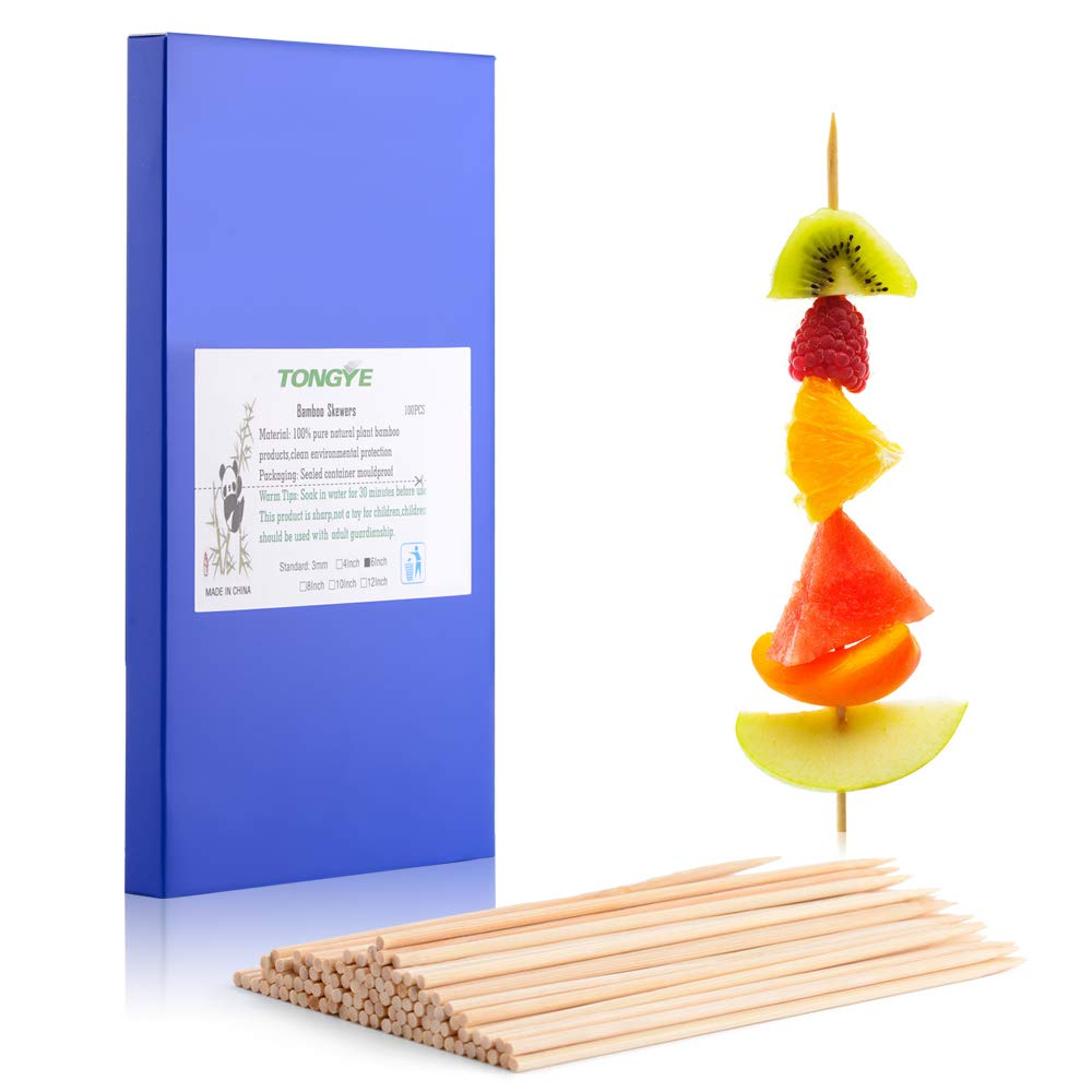 "TONGYE Premium Natural BBQ Bamboo Skewers for Shish Kabob, Grill, Appetizer, Fruit, Corn, Chocolate Fountain, Cocktail and More Foods, More Size Choices 4""/6""/8""/10""/12"""