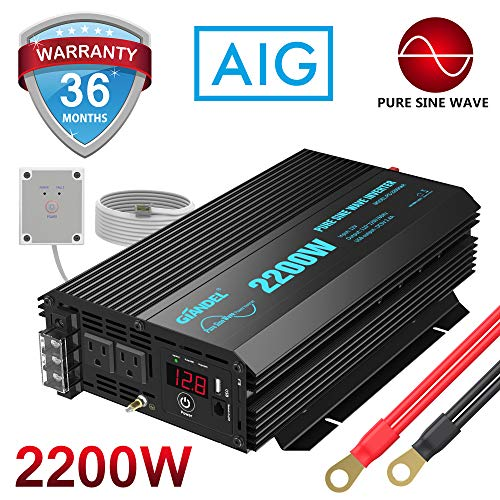 Pure Sine Wave Power Inverter 2200Watt DC 12volt to AC 120volt with Dual AC Outlets and 2.4A USB Port LED Display Remote Controller for RV Trucks Boats and Emergency