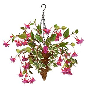 CC Christmas Decor Fuchsia and Ivy Cone Wall Basket - 15 Inch 111