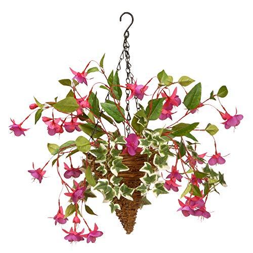 - CC Christmas Decor Fuchsia and Ivy Cone Wall Basket - 15 Inch