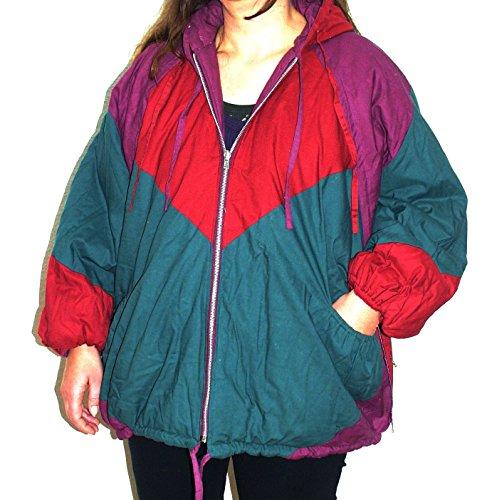 HIMALAYA Wendejacke Nr. 9 mit Kapuze grün / rot / lila Größe XL 100 % Baumwolle auch die Füllung Original 1980er Jahre